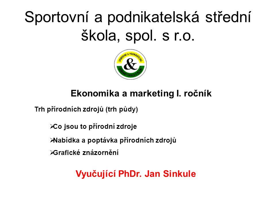 Sportovní a podnikatelská střední škola, spol. s r.o. Ekonomika a marketing I. ročník Vyučující PhDr. Jan Sinkule Trh přírodních zdrojů (trh půdy)  C