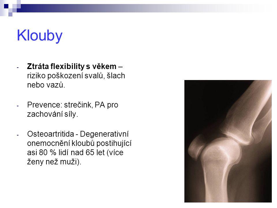 Klouby - Ztráta flexibility s věkem – riziko poškození svalů, šlach nebo vazů.