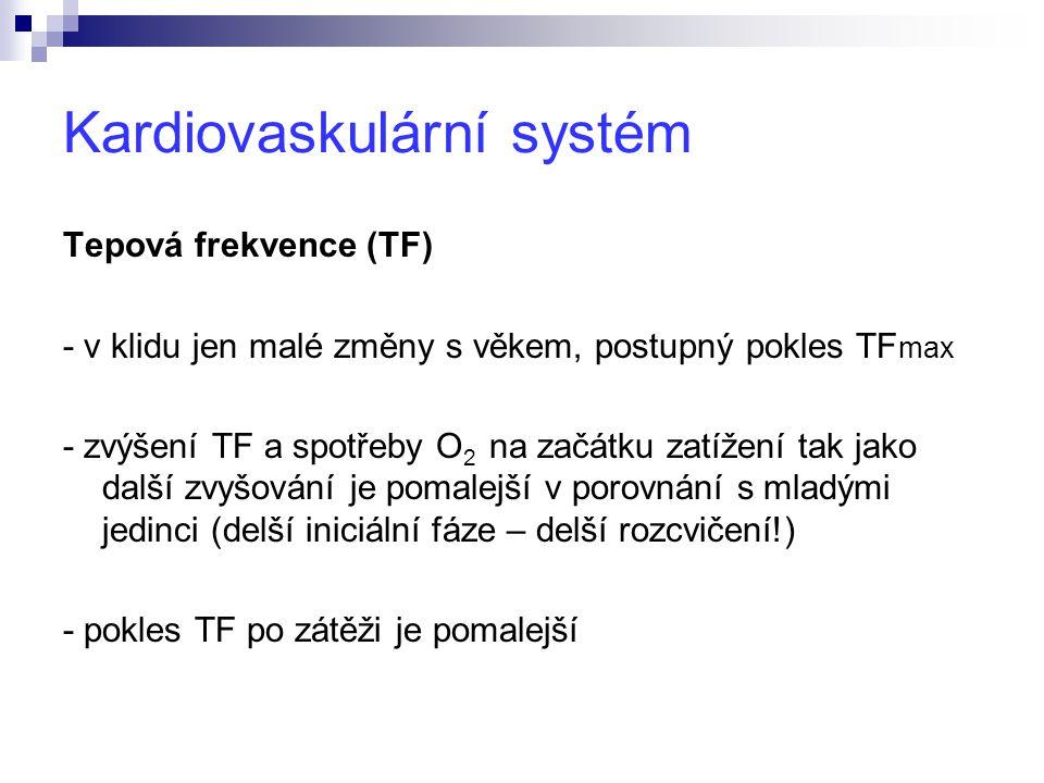 Kardiovaskulární systém Tepová frekvence (TF) - v klidu jen malé změny s věkem, postupný pokles TF max - zvýšení TF a spotřeby O 2 na začátku zatížení tak jako další zvyšování je pomalejší v porovnání s mladými jedinci (delší iniciální fáze – delší rozcvičení!) - pokles TF po zátěži je pomalejší