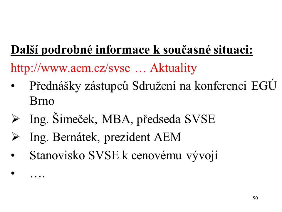 50 Další podrobné informace k současné situaci: http://www.aem.cz/svse … Aktuality Přednášky zástupců Sdružení na konferenci EGÚ Brno  Ing.