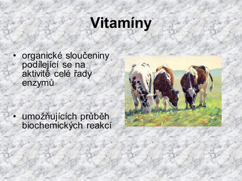 Kyselina nikotinová (Niacin, vitamín PP) zrno obilovin, kvasnice a otruby detoxikace štěpných produktů bílkovin součást NAD, NADP, NADPH (metabolismus bílkovin, glukózy, tuků) nedostatek - změny na kůži, záněty sliznic, poruchy růstu a průjmy, poruchy růstu peří, snížená snáška a líhnivost vajec - u člověka – pellagra (drsná kůže) - u psů – černý jazyk