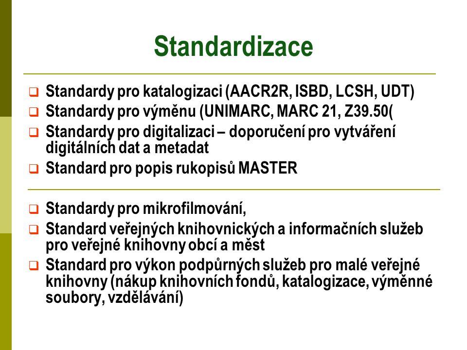 Standardizace  Standardy pro katalogizaci (AACR2R, ISBD, LCSH, UDT)  Standardy pro výměnu (UNIMARC, MARC 21, Z39.50(  Standardy pro digitalizaci – doporučení pro vytváření digitálních dat a metadat  Standard pro popis rukopisů MASTER  Standardy pro mikrofilmování,  Standard veřejných knihovnických a informačních služeb pro veřejné knihovny obcí a měst  Standard pro výkon podpůrných služeb pro malé veřejné knihovny (nákup knihovních fondů, katalogizace, výměnné soubory, vzdělávání)