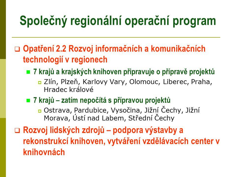 Společný regionální operační program  Opatření 2.2 Rozvoj informačních a komunikačních technologií v regionech 7 krajů a krajských knihoven připravuj