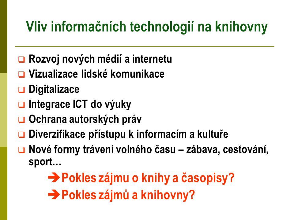 Vliv informačních technologií na knihovny  Rozvoj nových médií a internetu  Vizualizace lidské komunikace  Digitalizace  Integrace ICT do výuky 