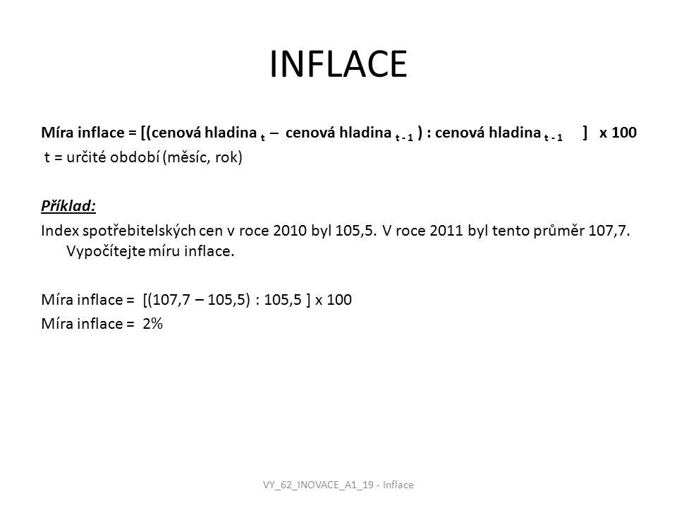 INFLACE Míra inflace = [(cenová hladina t – cenová hladina t - 1 ) : cenová hladina t - 1 ] x 100 t = určité období (měsíc, rok) Příklad: Index spotřebitelských cen v roce 2010 byl 105,5.