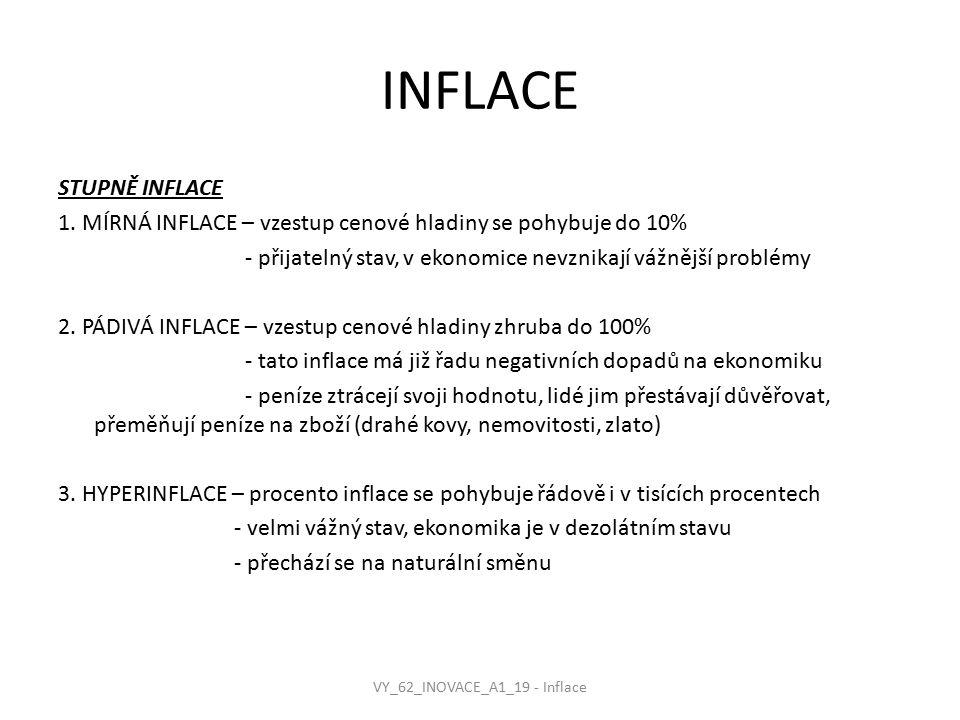 INFLACE STUPNĚ INFLACE 1. MÍRNÁ INFLACE – vzestup cenové hladiny se pohybuje do 10% - přijatelný stav, v ekonomice nevznikají vážnější problémy 2. PÁD