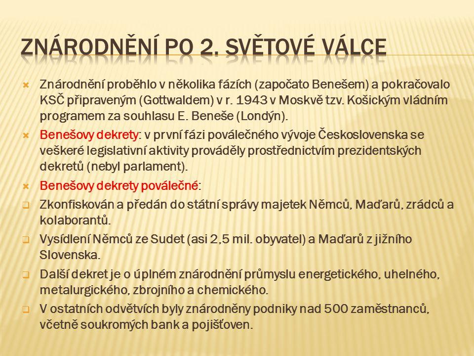  Znárodnění proběhlo v několika fázích (započato Benešem) a pokračovalo KSČ připraveným (Gottwaldem) v r. 1943 v Moskvě tzv. Košickým vládním program