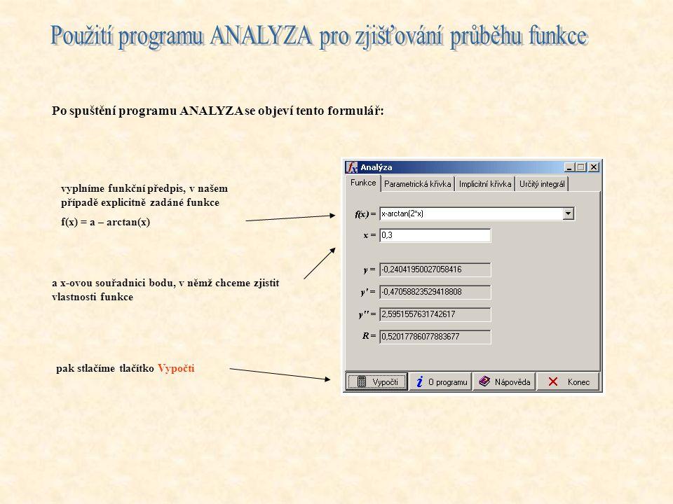 Po spuštění programu ANALYZA se objeví tento formulář: vyplníme funkční předpis, v našem případě explicitně zadáné funkce f(x) = a – arctan(x) a x-ovou souřadnici bodu, v němž chceme zjistit vlastnosti funkce pak stlačíme tlačítko Vypočti