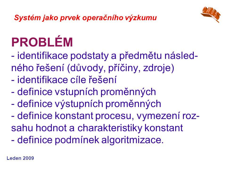Leden 2009 PROBLÉM - identifikace podstaty a předmětu násled- ného řešení (důvody, příčiny, zdroje) - identifikace cíle řešení - definice vstupních proměnných - definice výstupních proměnných - definice konstant procesu, vymezení roz- sahu hodnot a charakteristiky konstant - definice podmínek algoritmizace.