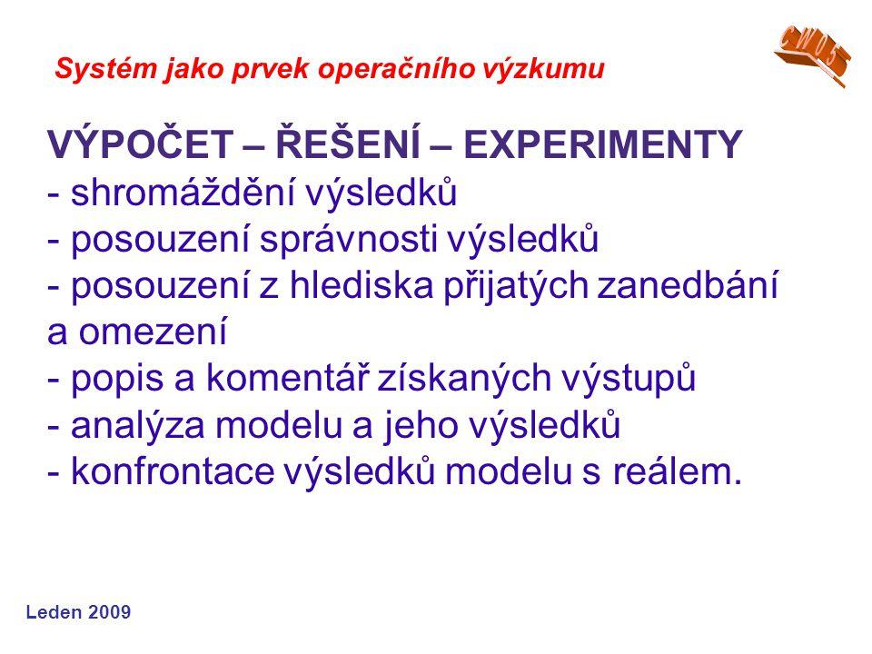 Leden 2009 Systém jako prvek operačního výzkumu VÝPOČET – ŘEŠENÍ – EXPERIMENTY - shromáždění výsledků - posouzení správnosti výsledků - posouzení z hlediska přijatých zanedbání a omezení - popis a komentář získaných výstupů - analýza modelu a jeho výsledků - konfrontace výsledků modelu s reálem.