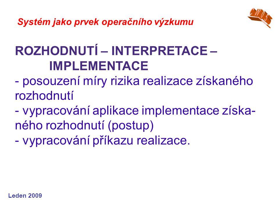 Leden 2009 Systém jako prvek operačního výzkumu ROZHODNUTÍ – INTERPRETACE – IMPLEMENTACE - posouzení míry rizika realizace získaného rozhodnutí - vypracování aplikace implementace získa- ného rozhodnutí (postup) - vypracování příkazu realizace.