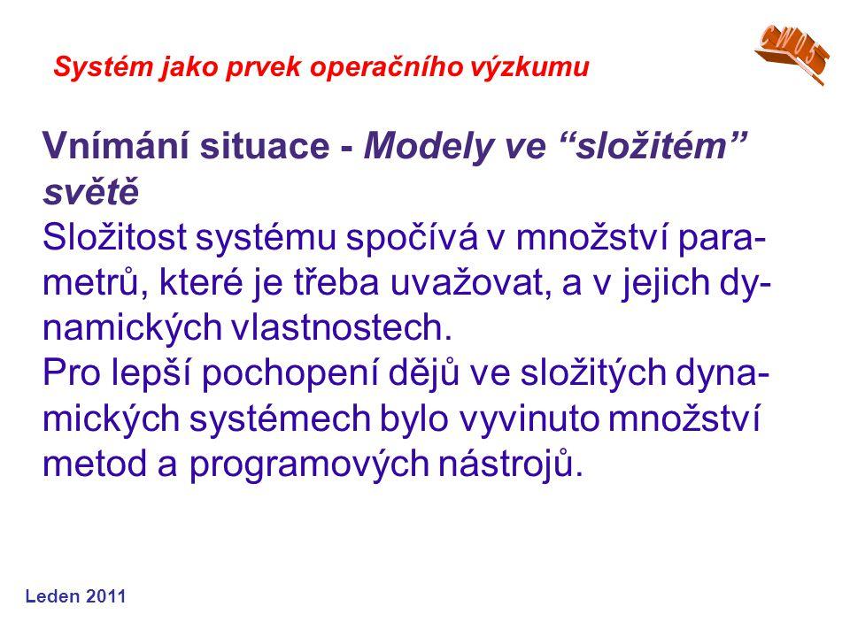 Leden 2011 Systém jako prvek operačního výzkumu Vnímání situace - Modely ve složitém světě Složitost systému spočívá v množství para- metrů, které je třeba uvažovat, a v jejich dy- namických vlastnostech.