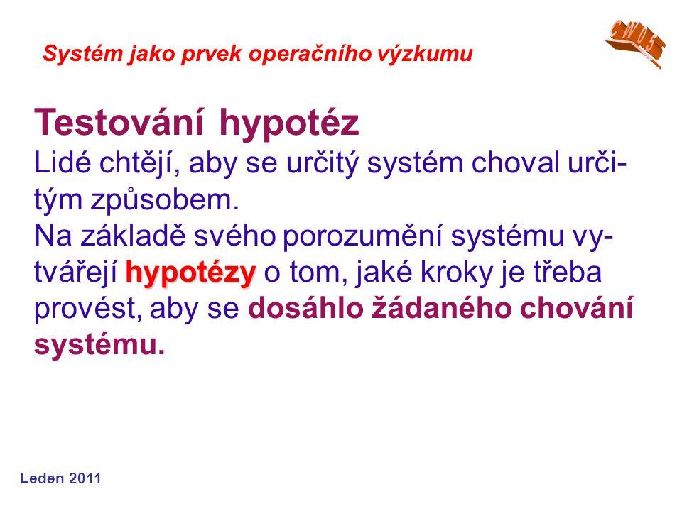 Leden 2011 Systém jako prvek operačního výzkumu Testování hypotéz Lidé chtějí, aby se určitý systém choval urči- tým způsobem.