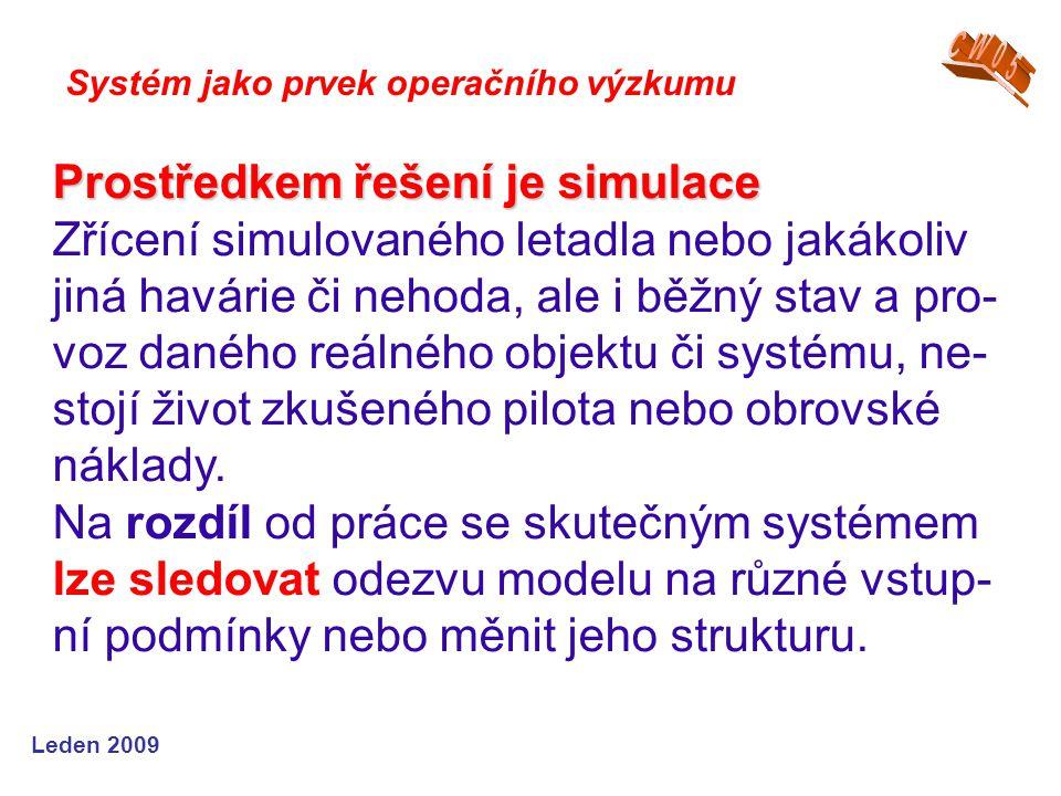 Leden 2009 Systém jako prvek operačního výzkumu Prostředkem řešení je simulace Zřícení simulovaného letadla nebo jakákoliv jiná havárie či nehoda, ale i běžný stav a pro- voz daného reálného objektu či systému, ne- stojí život zkušeného pilota nebo obrovské náklady.