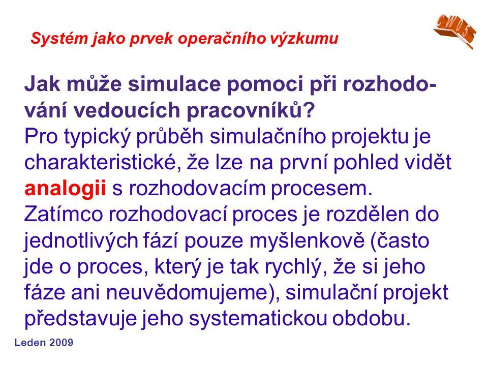 Leden 2009 Systém jako prvek operačního výzkumu Jak může simulace pomoci při rozhodo- vání vedoucích pracovníků.