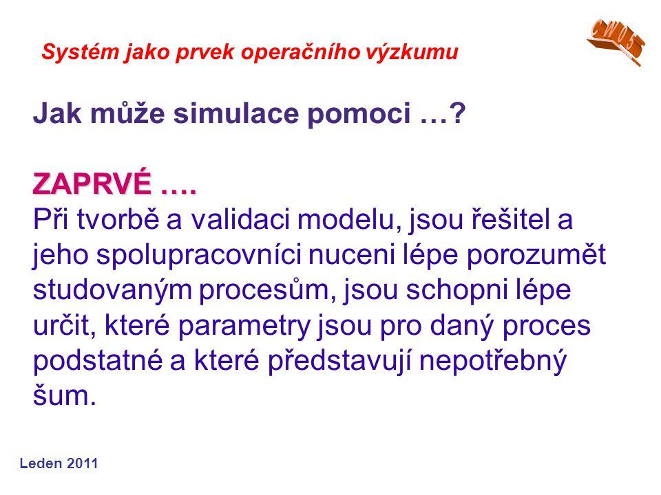 Leden 2011 Systém jako prvek operačního výzkumu Jak může simulace pomoci ….