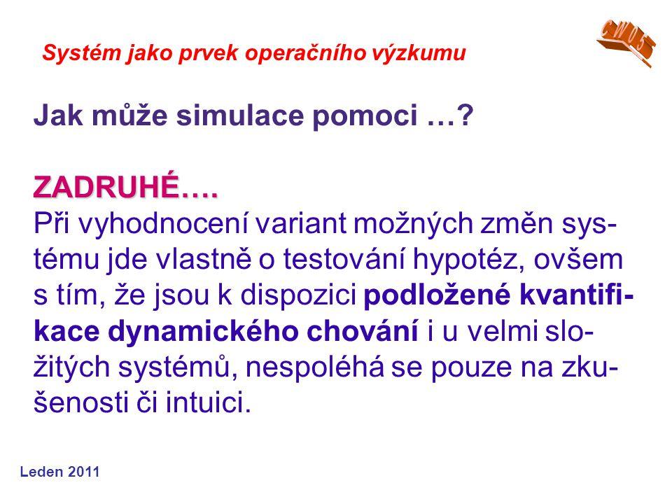 Leden 2011 Systém jako prvek operačního výzkumu Jak může simulace pomoci … ZADRUHÉ….