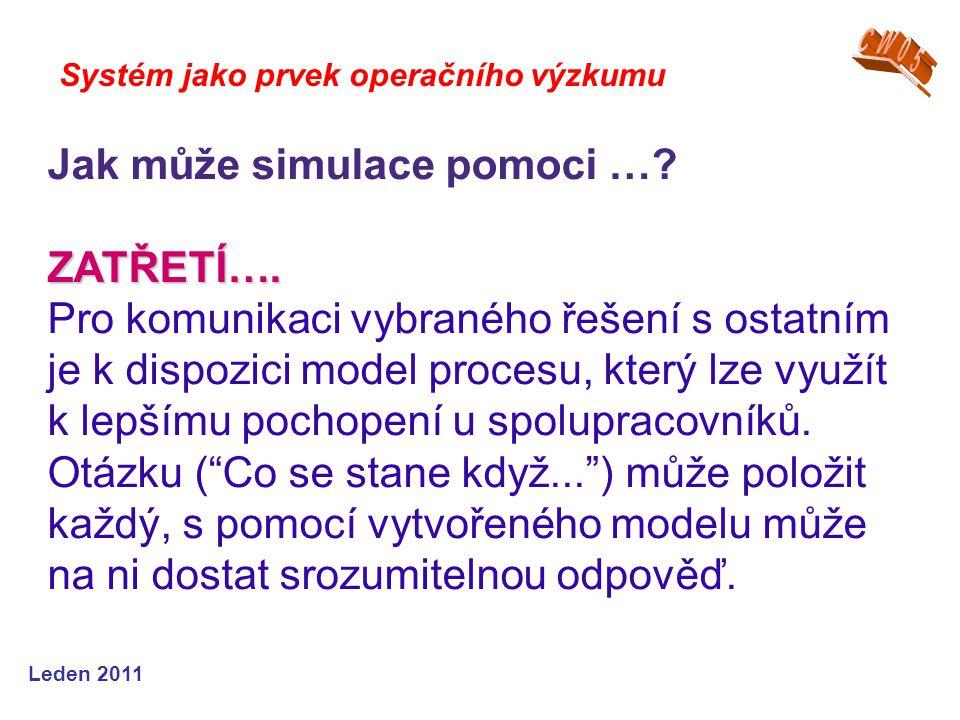Leden 2011 Systém jako prvek operačního výzkumu Jak může simulace pomoci … ZATŘETÍ….