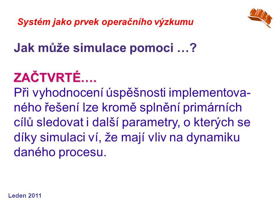 Leden 2011 Systém jako prvek operačního výzkumu Jak může simulace pomoci … ZAČTVRTÉ….