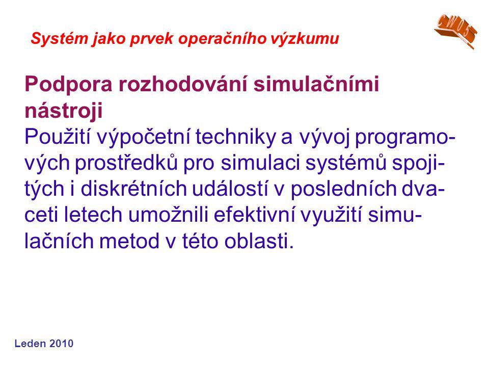 Leden 2010 Systém jako prvek operačního výzkumu Podpora rozhodování simulačními nástroji Použití výpočetní techniky a vývoj programo- vých prostředků pro simulaci systémů spoji- tých i diskrétních událostí v posledních dva- ceti letech umožnili efektivní využití simu- lačních metod v této oblasti.