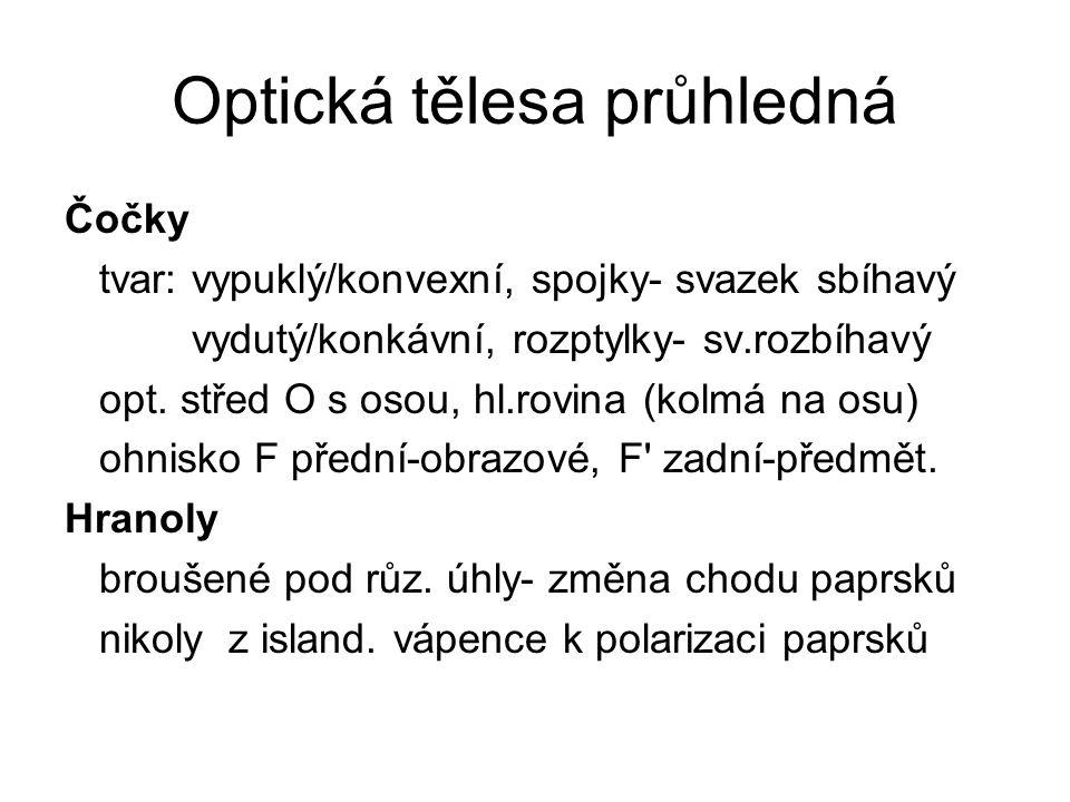 Optická tělesa průhledná Čočky tvar: vypuklý/konvexní, spojky- svazek sbíhavý vydutý/konkávní, rozptylky- sv.rozbíhavý opt.