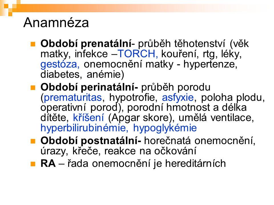 Anamnéza Období prenatální- průběh těhotenství (věk matky, infekce –TORCH, kouření, rtg, léky, gestóza, onemocnění matky - hypertenze, diabetes, anémi