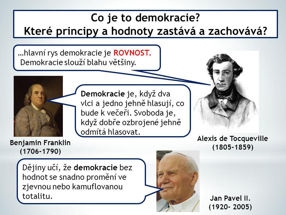 Co je to demokracie? Které principy a hodnoty zastává a zachovává? …hlavní rys demokracie je ROVNOST. Demokracie slouží blahu většiny. Alexis de Tocqu