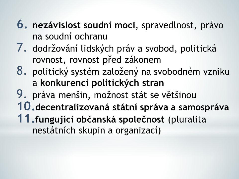 6. nezávislost soudní moci, spravedlnost, právo na soudní ochranu 7. dodržování lidských práv a svobod, politická rovnost, rovnost před zákonem 8. pol