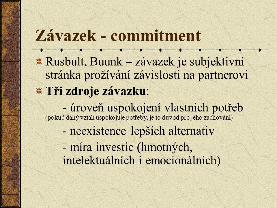 Závazek - commitment Rusbult, Buunk – závazek je subjektivní stránka prožívání závislosti na partnerovi Tři zdroje závazku: - úroveň uspokojení vlastních potřeb (pokud daný vztah uspokojuje potřeby, je to důvod pro jeho zachování) - neexistence lepších alternativ - míra investic (hmotných, intelektuálních i emocionálních)