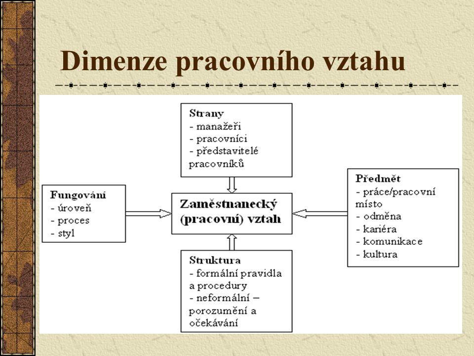 Vztahy pracovník - organizace Formální – právní stránka Neformální – sociálně-psychologická stránka Individuální – např.
