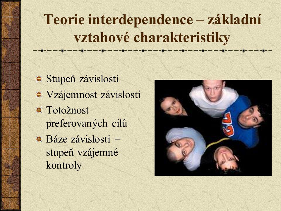 Teorie interdependence – základní vztahové charakteristiky Stupeň závislosti Vzájemnost závislosti Totožnost preferovaných cílů Báze závislosti = stupeň vzájemné kontroly