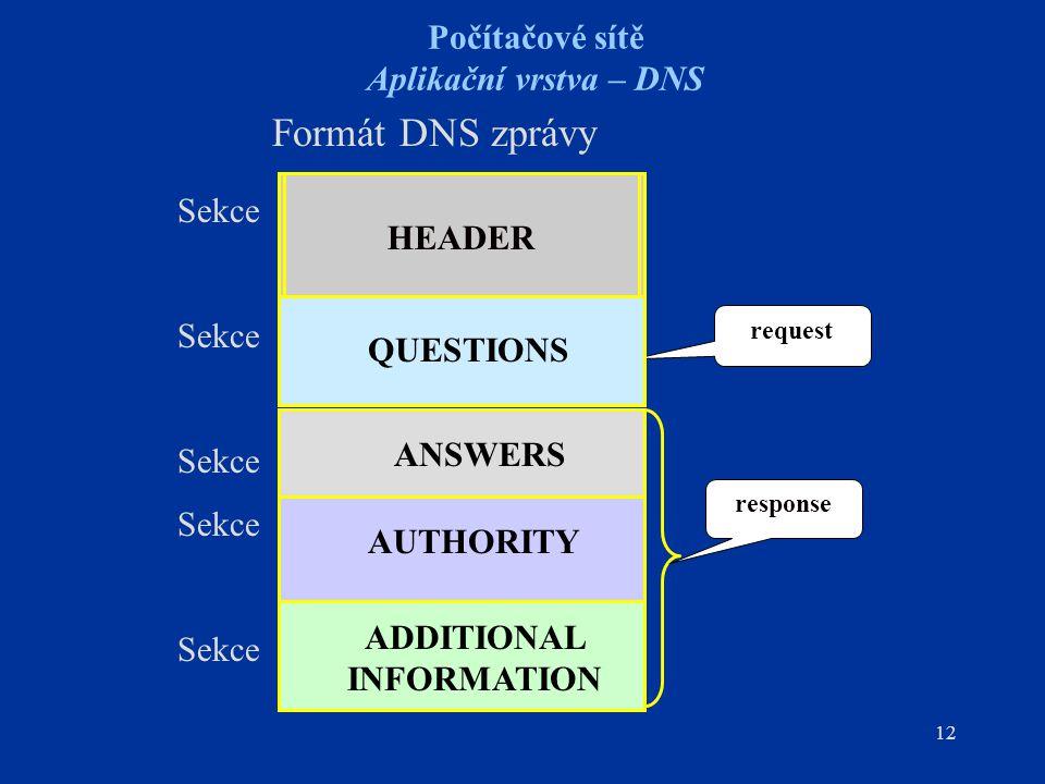 12 Počítačové sítě Aplikační vrstva – DNS Formát DNS zprávy request response HEADER QUESTIONS AUTHORITY ADDITIONAL INFORMATION Sekce QUESTIONS ANSWERS AUTHORITY ADDITIONAL INFORMATION