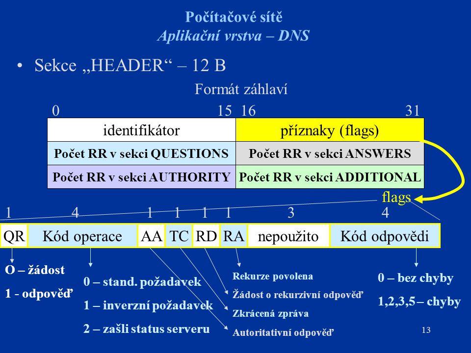 """13 Počítačové sítě Aplikační vrstva – DNS Sekce """"HEADER – 12 B Formát záhlaví identifikátorpříznaky (flags) Počet RR v sekci QUESTIONS Počet RR v sekci AUTHORITY Počet RR v sekci ANSWERS Počet RR v sekci ADDITIONAL 0 15 16 31 QRAARATCRDKód operaceKód odpovědinepoužito flags O – žádost 1 - odpověď 0 – stand."""