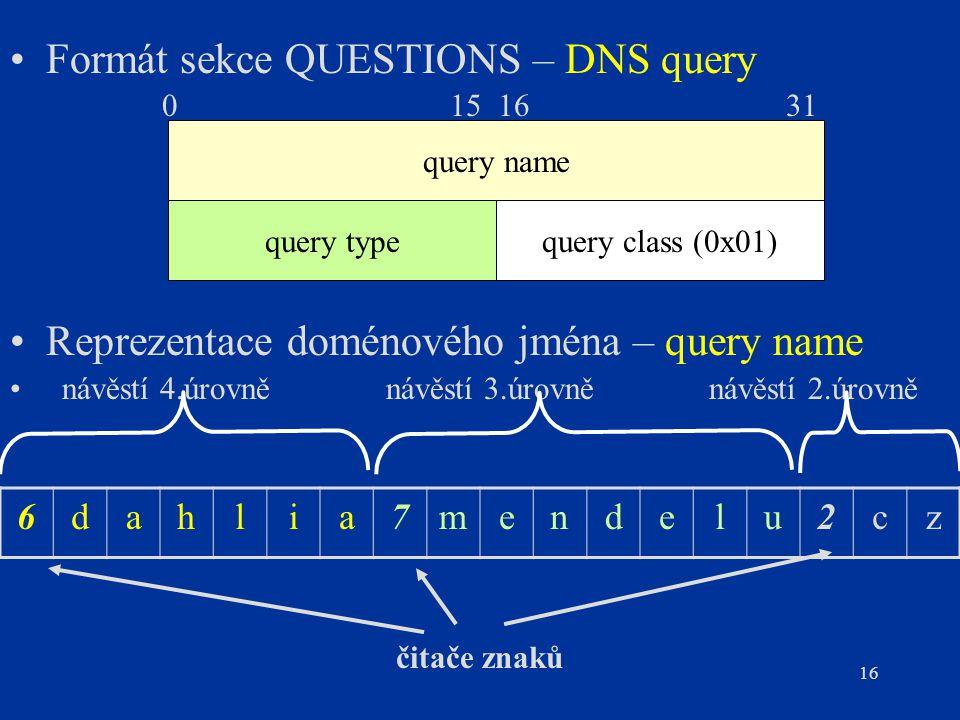 16 Formát sekce QUESTIONS – DNS query Reprezentace doménového jména – query name návěstí 4.úrovně návěstí 3.úrovně návěstí 2.úrovně 6dahlia7mendelu2cz čitače znaků query name query typequery class (0x01) 015 16 31