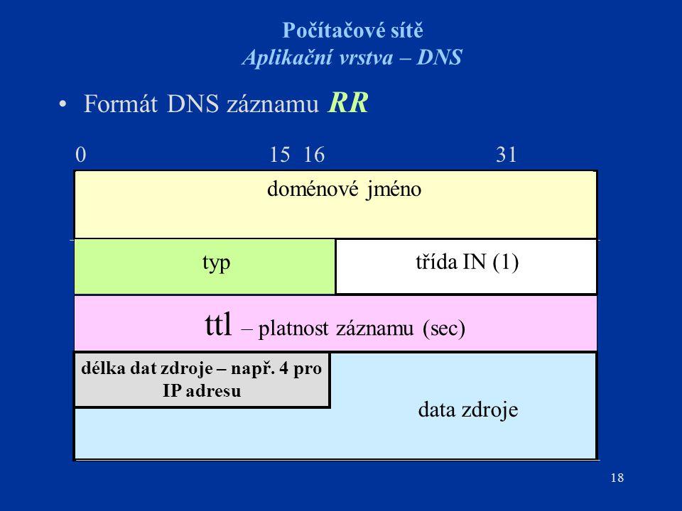 18 Počítačové sítě Aplikační vrstva – DNS Formát DNS záznamu RR 0 15 16 31 ttl – platnost záznamu (sec) doménové jméno typtřída IN (1) délka dat zdroje – např.