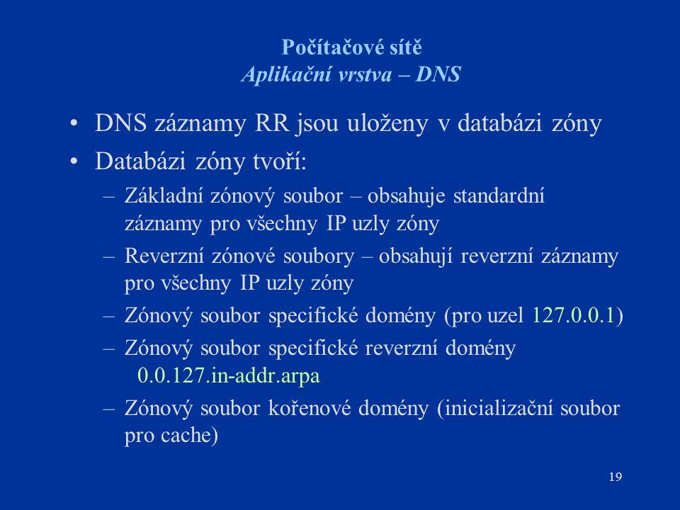 19 Počítačové sítě Aplikační vrstva – DNS DNS záznamy RR jsou uloženy v databázi zóny Databázi zóny tvoří: –Základní zónový soubor – obsahuje standardní záznamy pro všechny IP uzly zóny –Reverzní zónové soubory – obsahují reverzní záznamy pro všechny IP uzly zóny –Zónový soubor specifické domény (pro uzel 127.0.0.1) –Zónový soubor specifické reverzní domény 0.0.127.in-addr.arpa –Zónový soubor kořenové domény (inicializační soubor pro cache)