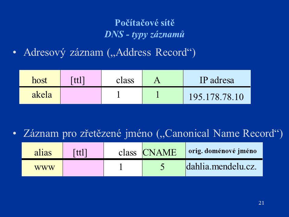 """21 Počítačové sítě DNS - typy záznamů Adresový záznam (""""Address Record ) Záznam pro zřetězené jméno (""""Canonical Name Record ) [ttl]aliasclassCNAME orig."""