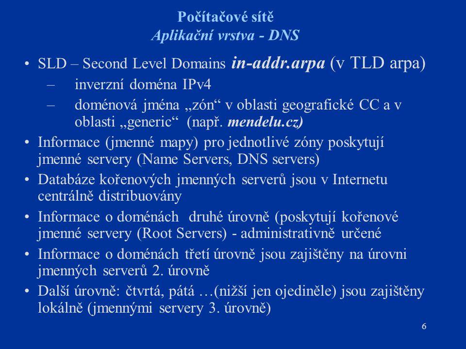 """6 Počítačové sítě Aplikační vrstva - DNS SLD – Second Level Domains in-addr.arpa (v TLD arpa) –inverzní doména IPv4 –doménová jména """"zón v oblasti geografické CC a v oblasti """"generic (např."""