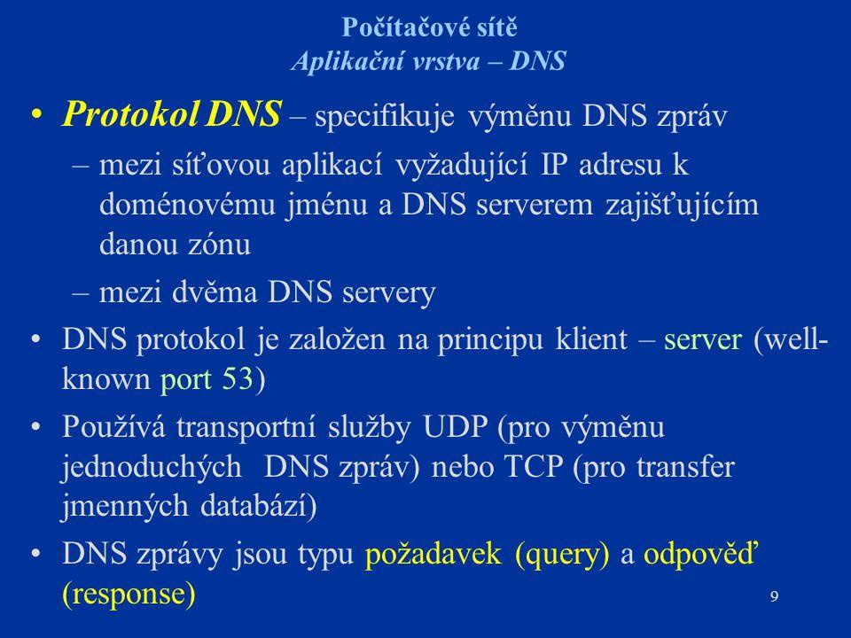 9 Počítačové sítě Aplikační vrstva – DNS Protokol DNS – specifikuje výměnu DNS zpráv –mezi síťovou aplikací vyžadující IP adresu k doménovému jménu a DNS serverem zajišťujícím danou zónu –mezi dvěma DNS servery DNS protokol je založen na principu klient – server (well- known port 53) Používá transportní služby UDP (pro výměnu jednoduchých DNS zpráv) nebo TCP (pro transfer jmenných databází) DNS zprávy jsou typu požadavek (query) a odpověď (response)