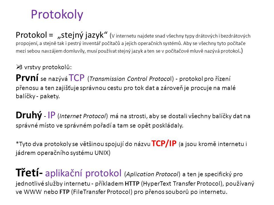 """Protokoly Protokol = """"stejný jazyk"""" ( V internetu najdete snad všechny typy drátových i bezdrátových propojení, a stejně tak i pestrý inventář počítač"""