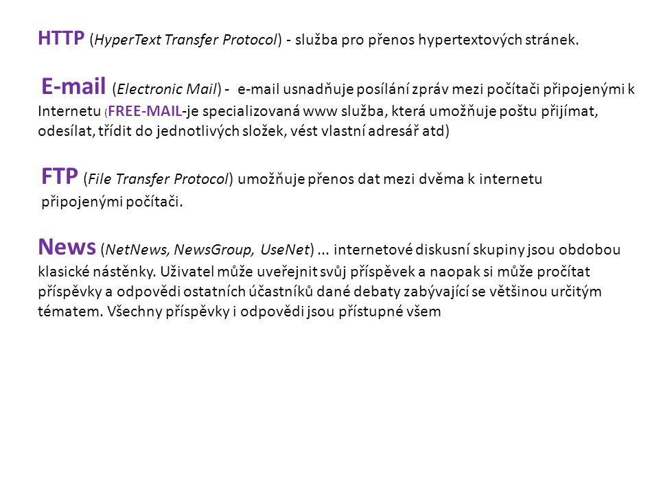 HTTP (HyperText Transfer Protocol) - služba pro přenos hypertextových stránek. E-mail (Electronic Mail) - e-mail usnadňuje posílání zpráv mezi počítač