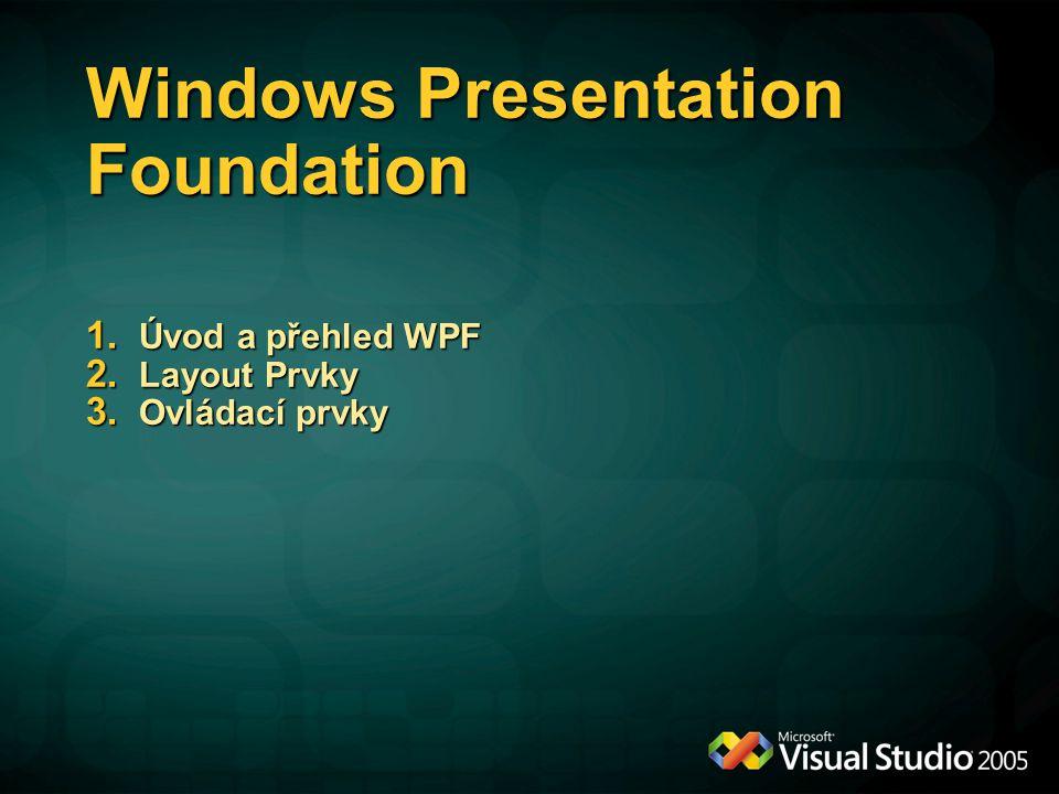 Windows Presentation Foundation 1. Úvod a přehled WPF 2. Layout Prvky 3. Ovládací prvky