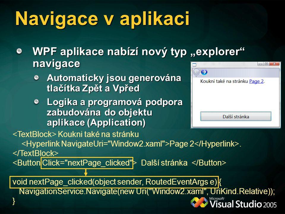 Koukni také na stránku Page 2. Další stránka void nextPage_clicked(object sender, RoutedEventArgs e) { NavigationService.Navigate(new Uri(
