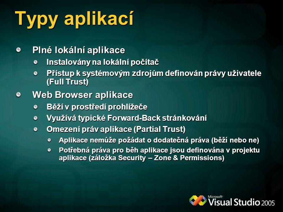 Typy aplikací Plné lokální aplikace Instalovány na lokální počítač Přístup k systémovým zdrojům definován právy uživatele (Full Trust) Web Browser apl