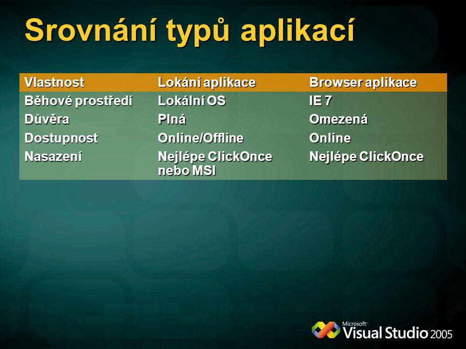 Srovnání typů aplikací Vlastnost Lokání aplikace Browser aplikace Běhové prostředí Lokální OS IE 7 DůvěraPlnáOmezená DostupnostOnline/OfflineOnline Na