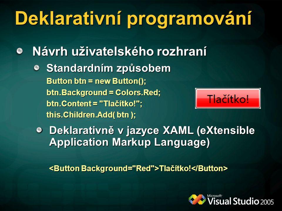 Deklarativní programování Návrh uživatelského rozhraní Standardním způsobem Button btn = new Button(); btn.Background = Colors.Red; btn.Content =