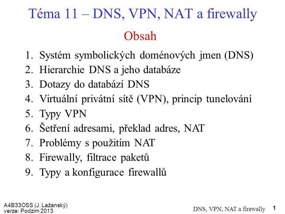 A4B33OSS (J. Lažanský) verze: Podzim 2013 DNS, VPN, NAT a firewally 1 Obsah Téma 11 – DNS, VPN, NAT a firewally 1.Systém symbolických doménových jmen