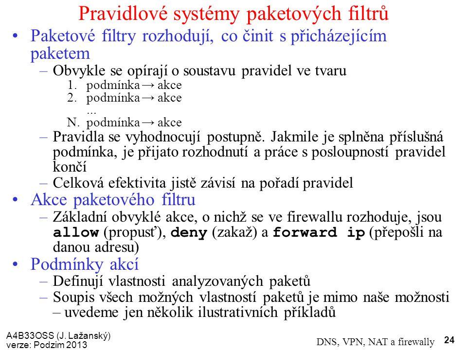 A4B33OSS (J. Lažanský) verze: Podzim 2013 DNS, VPN, NAT a firewally 24 Pravidlové systémy paketových filtrů Paketové filtry rozhodují, co činit s přic