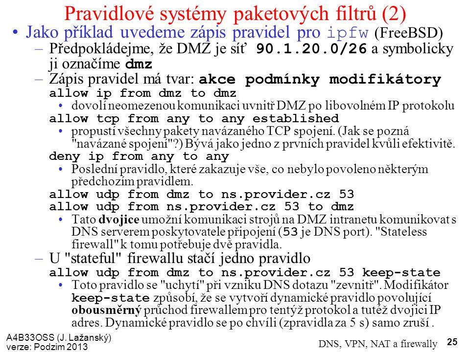 A4B33OSS (J. Lažanský) verze: Podzim 2013 DNS, VPN, NAT a firewally 25 Pravidlové systémy paketových filtrů (2) Jako příklad uvedeme zápis pravidel pr