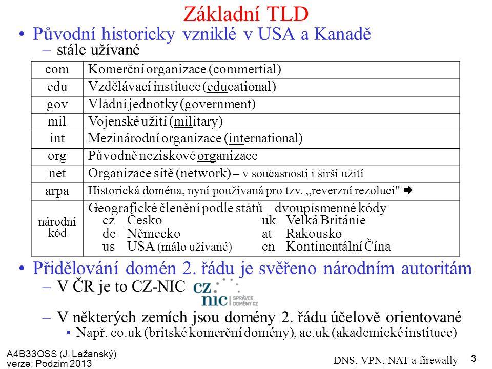 A4B33OSS (J. Lažanský) verze: Podzim 2013 DNS, VPN, NAT a firewally 3 Základní TLD Původní historicky vzniklé v USA a Kanadě –stále užívané Přidělován